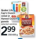 Quaker Life - Cap'n Crunch Cereal Or Harvest Crunch Granola - 350-650 g
