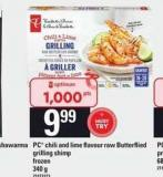 PC Chili And Lime Flavour Raw Butterflied Grilling Shimp - 340 g
