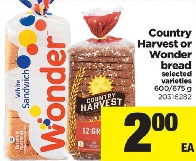 Country Harvest Or Wonder Bread - 600/675 G