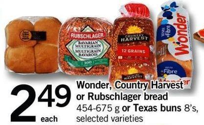 Wonder - Country Harvest Or Rubschlager Bread - 454-675 G Or Texas Buns - 8's