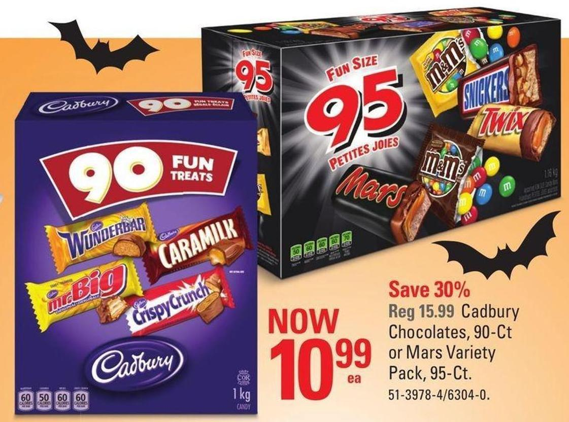 Cadbury Chocolates - 90-ct or Mars Variety Pack - 95-ct