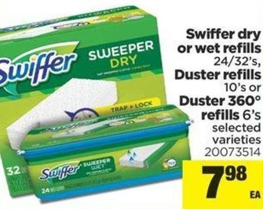 Swiffer Dry Or Wet Refills 24/32's - Duster Refills 10's Or Duster 360° Refills 6's