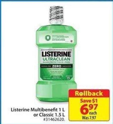 Listerine Multibenefit 1 L or Classic 1.5 L