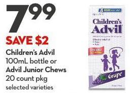 Children's Advil 100ml Bottle or Advil Junior Chews 20 Count Pkg