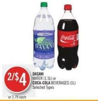 Dasani Water (1.5l) or Coca-cola Beverages (1l)