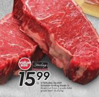 Sterling Silver Striploin Grilling Steak Roast Cut From Canada Aaa Grade Beef