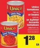 Unico Tomatoes 796 Ml Or Beans 540 Ml Or Aylmer Accents Tomatoes - 398/540 mL