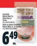 Greenfield Natural Meat Co. Sliced Ham Or Turkey 175 g