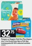 Pampers Or Huggies Club Size Plus Diapers - Size 1-6 Or Econo Easy-ups Or Pull-ups Training Pants - 82-124's