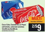 Coca-cola - Canada Dry Or Pepsi Soft Drinks - 12x355 Ml/8x300 M