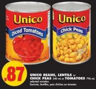 Unico Beans - Lentils or Chick Peas - 540 mL or Tomatoes - 796 mL
