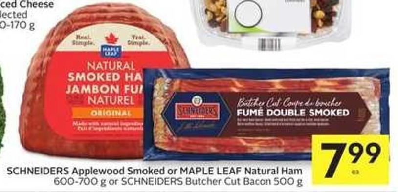 Schneiders Applewood Smoked or Maple Leaf Natural Ham