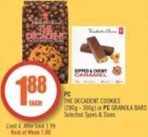 PC The Decadent Cookies (280g - 300g) or PC Granola Bars