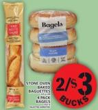 Stone Oven Baked Baguettes Or 4 Pack Bagels