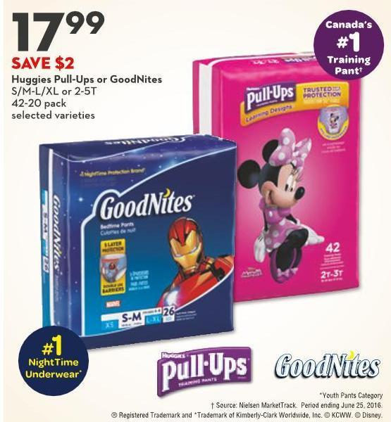 Huggies Pull-ups or Goodnites S/m-l/xl or 2-5t
