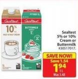 Sealtest 5% or 10% Cream or Buttermilk 1 L