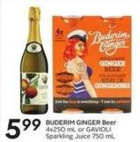 Buderim Ginger Beer 4x250 mL or Gavioli Sparkling Juice 750 mL
