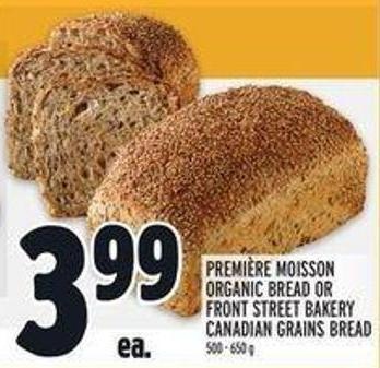 Première Moisson Organic Bread or Front Street Bakery Canadian Grains Bread