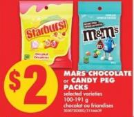 Mars Chocolate or Candy Peg Packs - 100-191 g