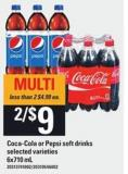 Coca-cola Or Pepsi Soft Drinks - 6x710 Ml