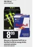 Monster Or Rockstar - 4x473 Ml Or Red Bull - 4x250 Ml Energy Drinks