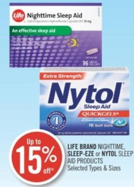 Life Brand Nighttime - Sleep-eze or Nytol Sleep Aid Products