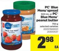 PC Blue Menuspread 500 mL or PC Blue Menu Peanut Butter 750 g