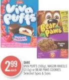 Dare Viva Puffs (300g) - Wagon Wheels (215g) or Bear Paws Cookies