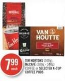Tim Hortons (300g) - Mccafé (300g - 340g) Coffee or Selected K-cup Coffee PODS