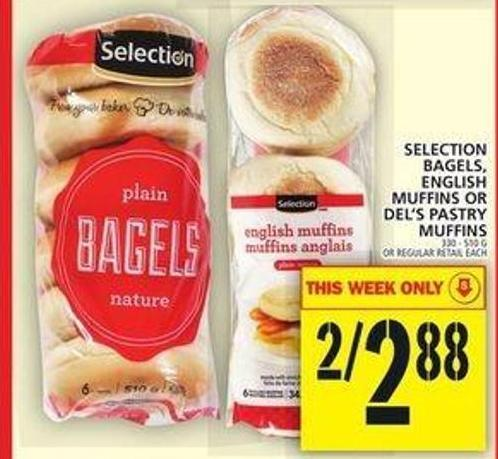 Bagels - English Muffins Or Del's Pastry Muffins