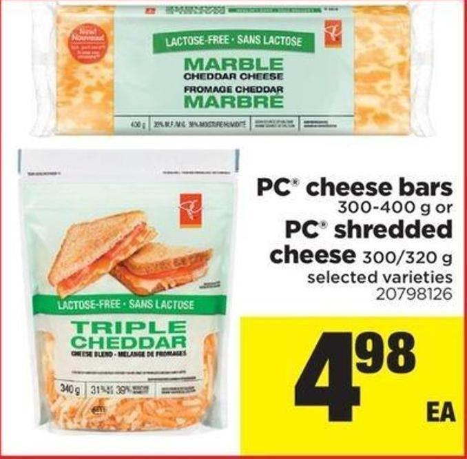 PC Cheese Bars - 300-400 G Or PC Shredded Cheese - 300/320 G