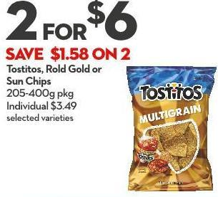 Tostitos - Rold Gold or Sun Chips 205-400g Pkg