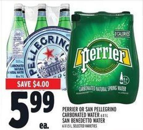 Perrier Or San Pellegrino Carbonated Water 6 X 1 L San Benedetto Water 6 X 1.5 L