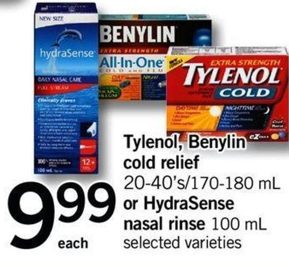 Tylenol - Benylin Cold Relief 20-40's/170-180 Ml Or Hydrasense Nasal Rinse 100 Ml