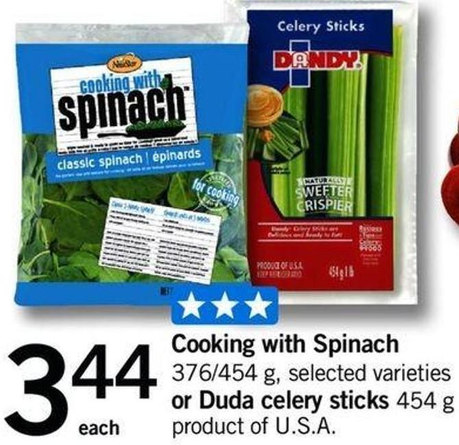 Cooking With Spinach.376/454 G Or Duda Celery Sticks - 454 G