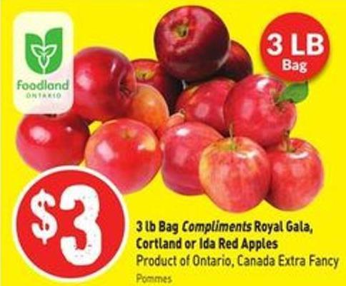 3 Lb Bag Compliments Royal Gala - Cortland or Ida Red Apples Product of Ontario - Canada Extra Fancy