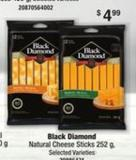 Black Diamond Natural Cheese Sticks - 252 G