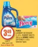 Purex Laundry Detergent (1.47l) - Fleecy Sheets (80's) or Downy Fabric Softener (1.02l)