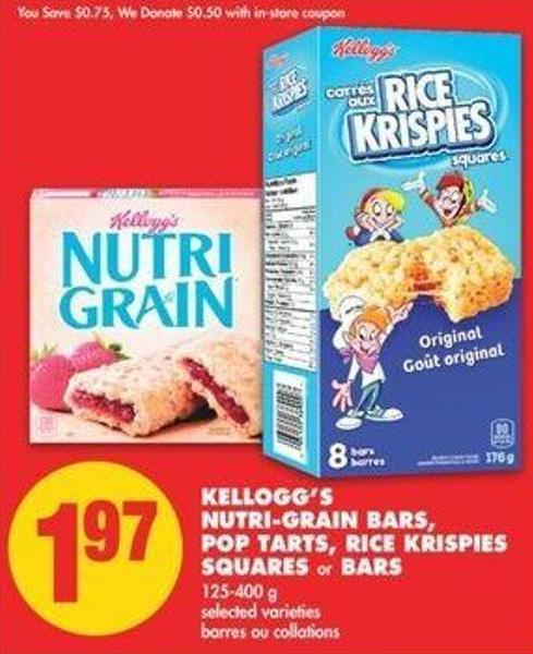 Kellogg's Nutri-grain Bars - Pop Tarts - Rice Krispies Squares Or Bars - 125-400 G