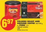 Folgers Roast And Ground Coffee - 642-920 g or PODS 12's