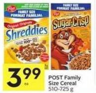 Post Family Size Cereal