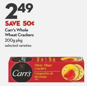 Carr's Whole  Wheat Crackers 200g Pkg
