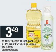 No Name Canola Or Sunflower Oil 946 Ml Or PC Cooking Sprays - 120-170 Ml