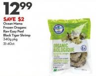 Ocean Mama Frozen Oraganc Raw Easy Peel  Black Tiger Shrimp  340g Pkg 31-40ct