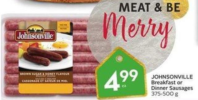 Johnsonville Breakfast or Dinner Sausages 375-500 g
