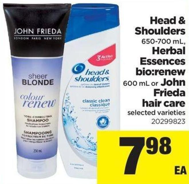 Head & Shoulders - 650-700 Ml - Herbal Essences Bio:renew 600 Ml Or John Frieda Hair Care