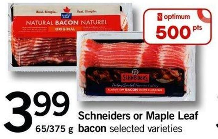 Schneiders Or Maple Leaf Bacon - 65/375 G