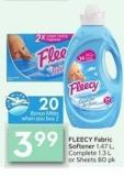Fleecy Fabric Softener 1.47 L - Complete 1.3 L or Sheets 80 Pk - 20 Air Miles Bonus Miles