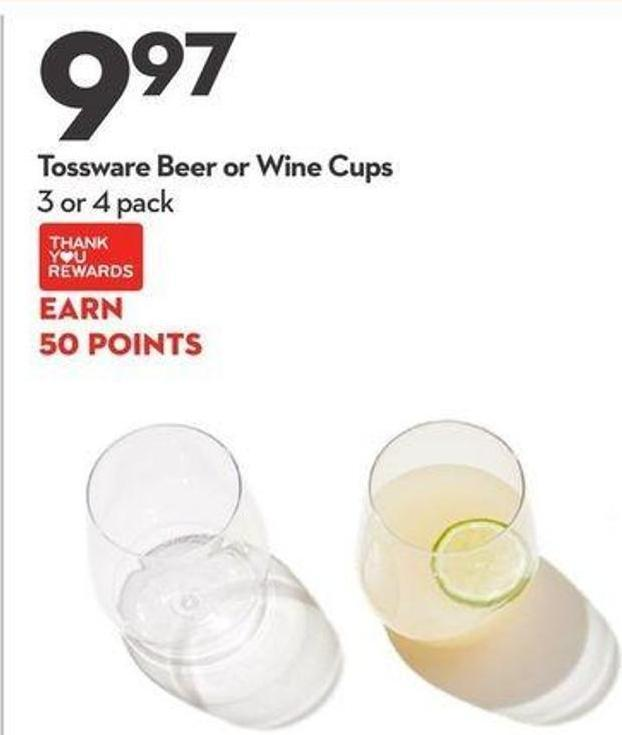 Tossware Beer or Wine Cups