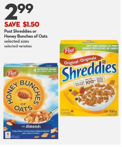 Post Shreddies or  Honey Bunches of Oats